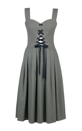 Medium lena hoschek plaid high tide plaid bustier dress