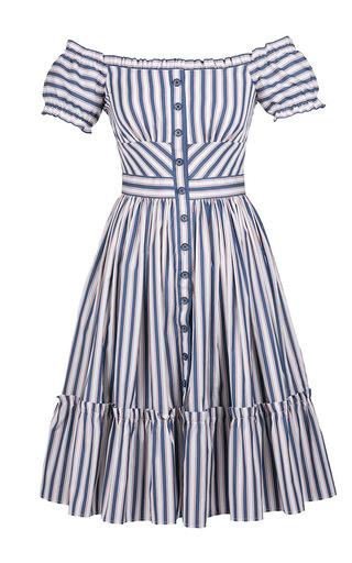Medium lena hoschek stripe off the shoulder striped skipper dress