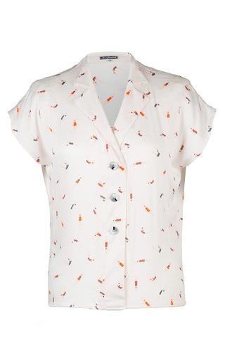 Medium lena hoschek print summer blouse with swimmer motive