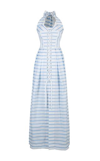 Medium lena hoschek stripe cruise halter maxi dress