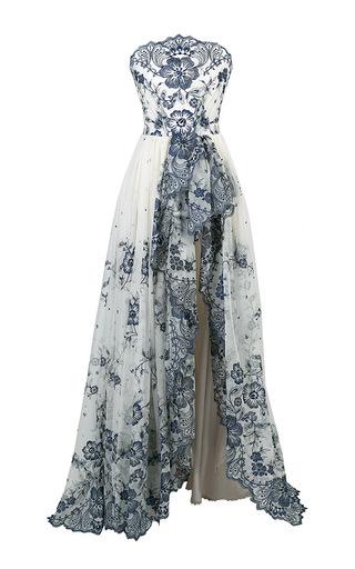Medium lena hoschek multi lace bustier couture gown