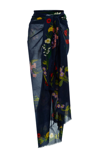 Medium stella mccartney navy embroidered floral sarong