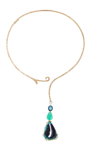 Medium sharon khazzam blue scroll collar with macha scroll drop