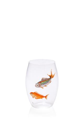 Medium lobmeyr clear convex handpainted fish tumbler