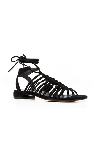 Medium stuart weitzman  2 black knotagain lace up sandals
