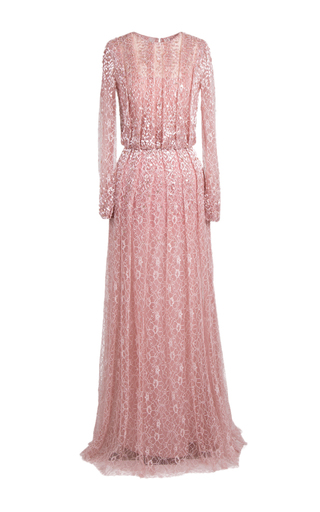 Medium rami al ali pink long sleeve embellished lace gown