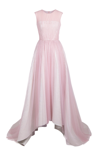 Medium rami al ali pink layered embellished cascading tulle gown