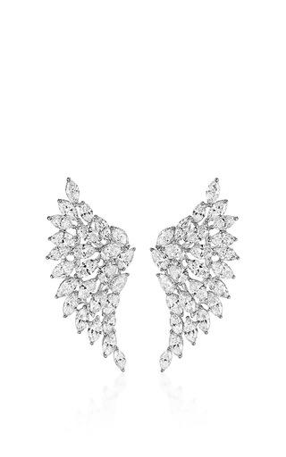 Medium messika silver swan diamond earrings