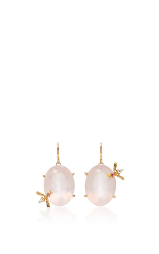 Medium sharon khazzam pink rose quartz bee earrings
