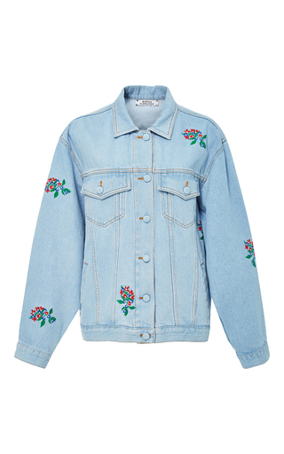 Medium ksenia schnaider light wash light wash denim jacket with embroidered flowers