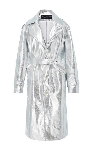 Medium brashy silver millennium leather trench coat