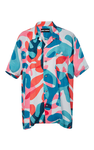 Medium double rainbouu print coral leaf short sleeve hawaiian shirt
