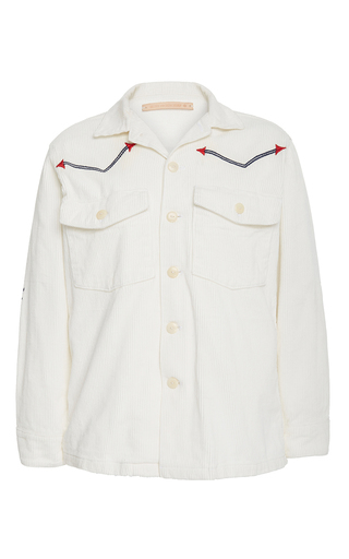 Medium bliss and mischief white rodeo embroidered corduroy jacket