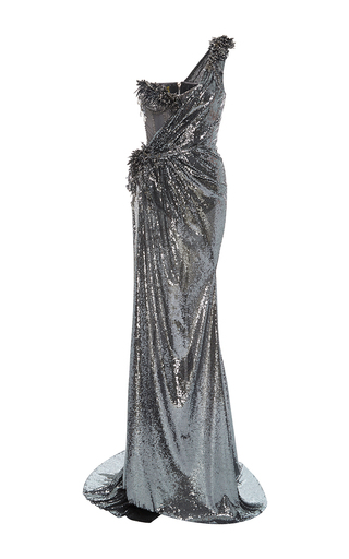 Medium the blonds dark grey one shoulder sequin goddess gown