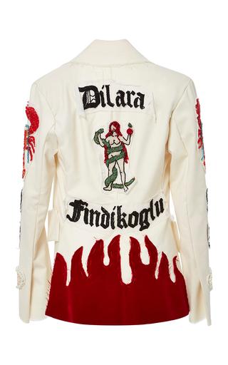 Medium dilara findikoglu white cream blazer with beaded patches