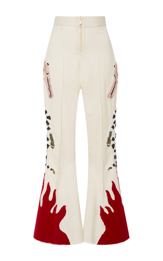 Medium dilara findikoglu white cream wide legged trouser