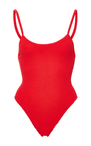 Medium hunza g red strap swim maillot