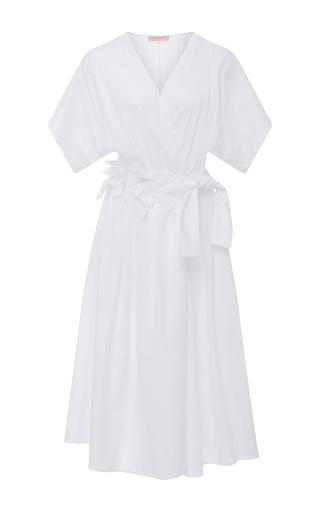 Medium anna sammarone white midi wrap dress with floral appliques