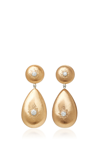 Medium buccellati gold classica macri pendant earrings