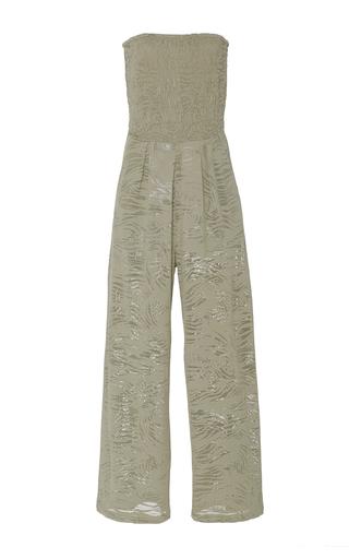 Medium prism khaki strapless jumpsuit