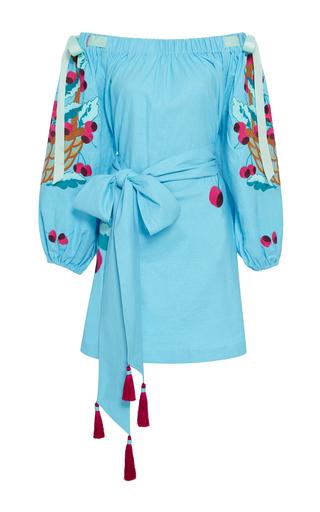 Medium yuliya magdych blue embroidered linen dress