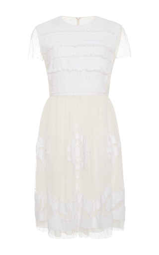 Medium red valentino white embroidered tulle applique dress