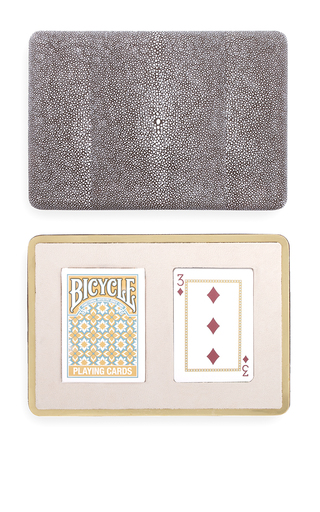 Medium aerin brown shagreen card case