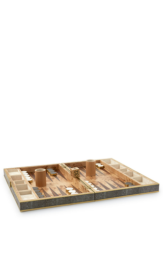Medium aerin brown chocolate shagreen backgammon set