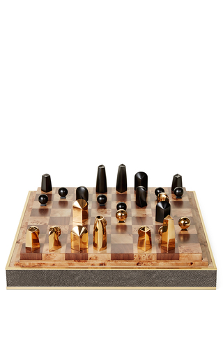 Medium aerin brown shagreen chess set
