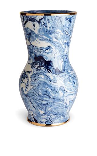 Medium aerin blue marbleized hourglass vase