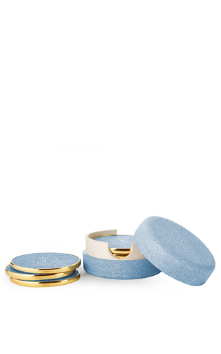 Medium aerin blue shagreen coasters