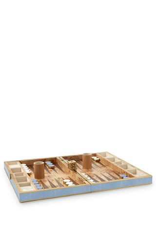 Medium aerin blue embossed resin backgammon set