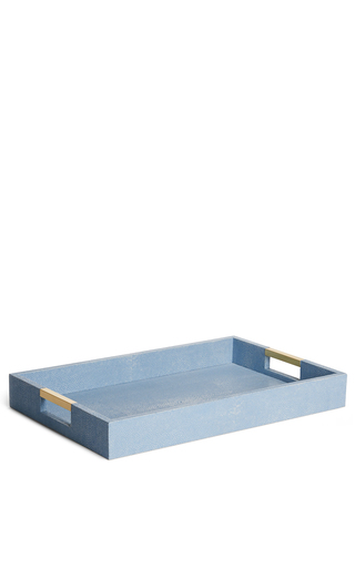 Medium aerin blue modern embossed resin desk tray