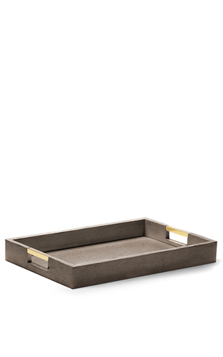 Medium aerin brown modern embossed resin desk tray 2