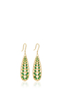 Long Leaf Earrings With Tsavorite  by JAMIE WOLF for Preorder on Moda Operandi