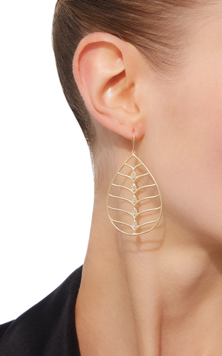 Pear Shape Earrings With Scallop Wire And White Diamonds by JAMIE WOLF for Preorder on Moda Operandi