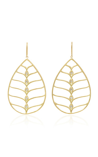 Medium jamie wolf gold pear shape earrings with scallop wire and white diamonds