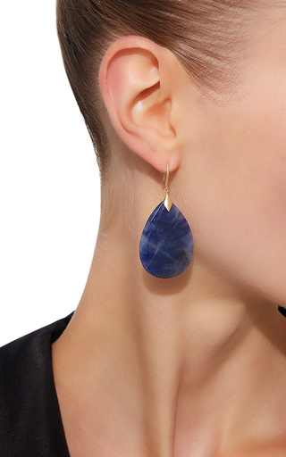 Marquis Element Earrings With Pear Shaped Blue Sapphire by JAMIE WOLF for Preorder on Moda Operandi