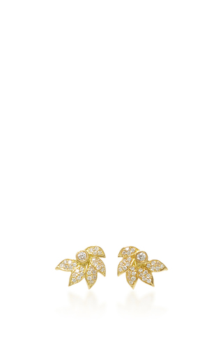 Medium jamie wolf gold lotus stud with pave white diamonds