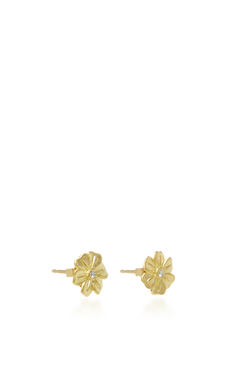 White Lilac Studs With A White Diamond by JAMIE WOLF for Preorder on Moda Operandi