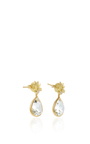 Lotus Flower Pear Drop Earrings With White Topaz And A White Diamond by JAMIE WOLF for Preorder on Moda Operandi