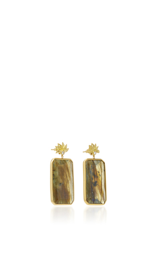 Lotus Flower Pear Drop Earrings With Labradorite And A White Diamond by JAMIE WOLF for Preorder on Moda Operandi