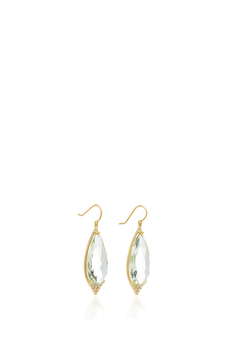 Long Pear Shape Aladdin Pavé Point Earrings With Green Amethyst And White Diamonds by JAMIE WOLF for Preorder on Moda Operandi
