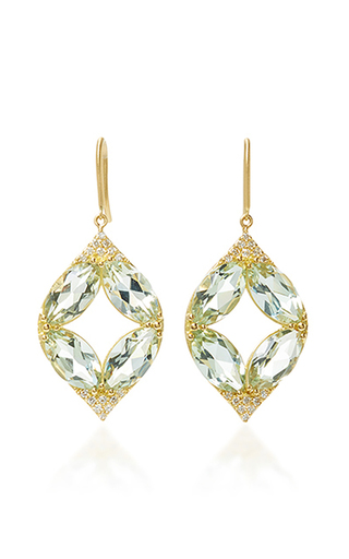 Medium jamie wolf gold marquis pave point earrings with green amethyst and white diamonds