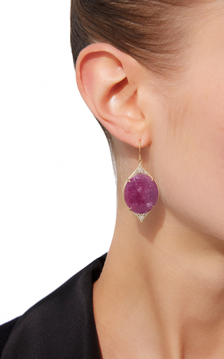Oval Aladdin Pavé Earrings With Rubies And White Diamonds by JAMIE WOLF for Preorder on Moda Operandi