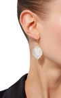Epaulement Oval Earrings With White Moonstone And White Diamonds by JAMIE WOLF for Preorder on Moda Operandi
