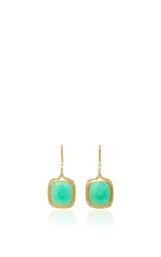 Cushion Cut Drop Earrings With Chrysophrase And White Diamonds by JAMIE WOLF for Preorder on Moda Operandi