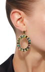 Mosaic Oval Earrings With Emerald Cut Multi Color Tourmaline And White Diamonds by JAMIE WOLF for Preorder on Moda Operandi