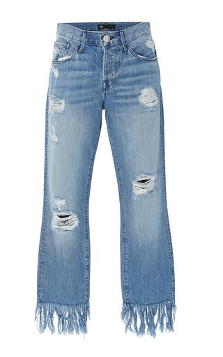 Medium 3x1 blue mid rise distressed straight leg jeans
