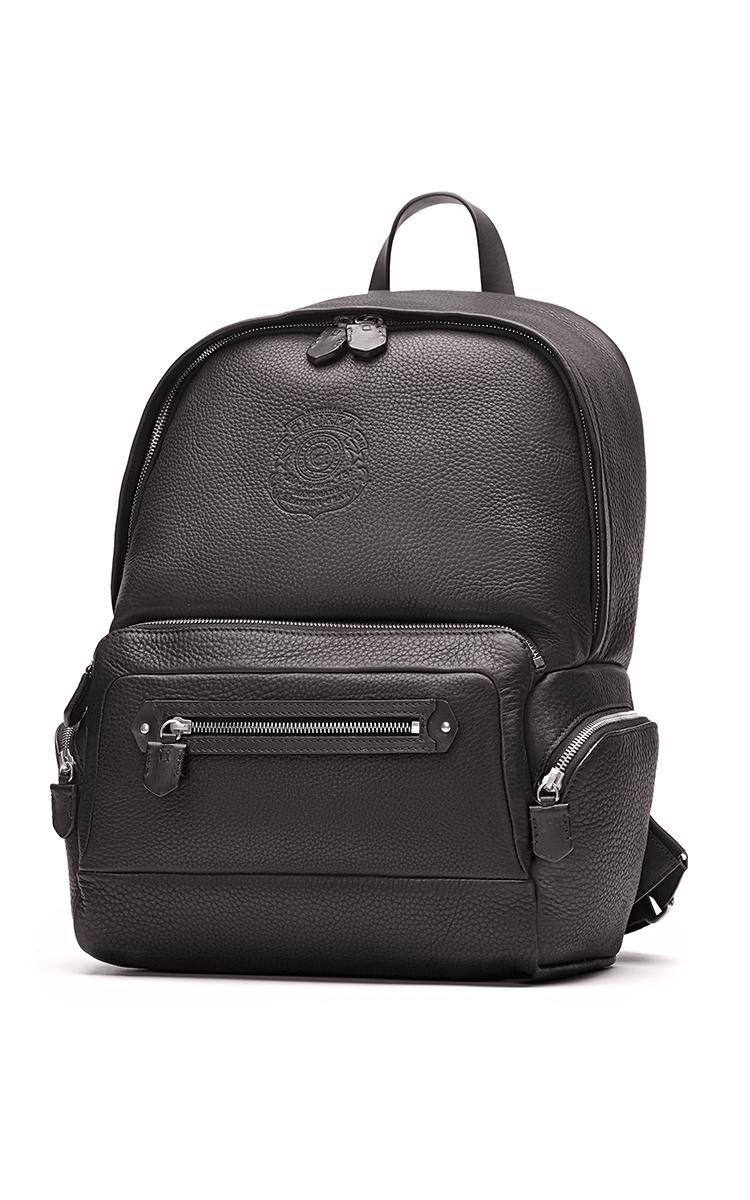 GHURKA Unisex Leather Backpack in Black